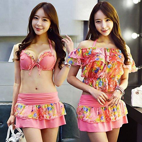 Zhangyong * Modèle de maillot de bain 3pièces Bikini Grand coffre Petite des particules d'acier et ressort Coffre sexy Split Maillot de bain, M, rouge