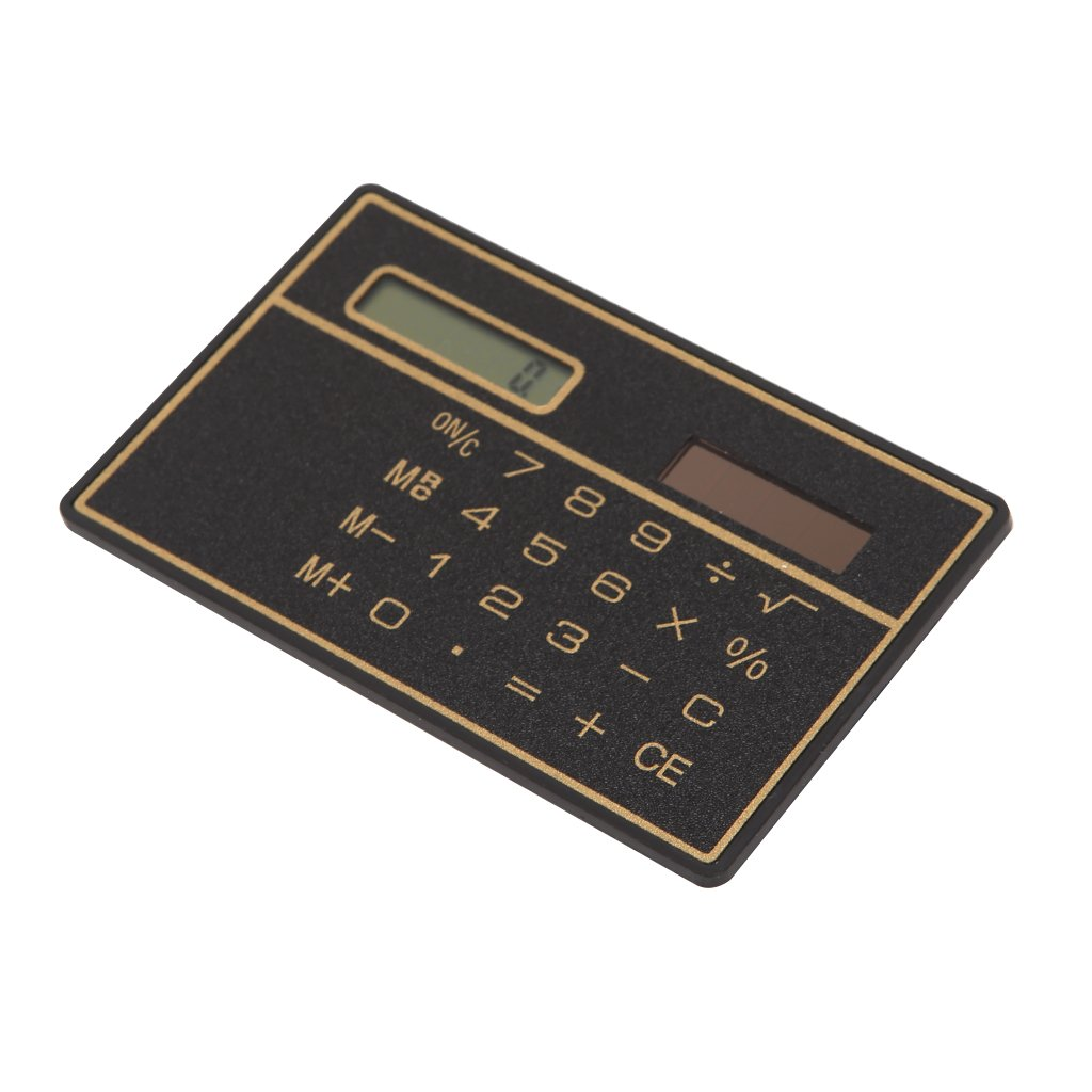 Oranmay Ultra Thin Mini Pocket 8-Digit Solar Powered Calculator for Office School Home (Black)