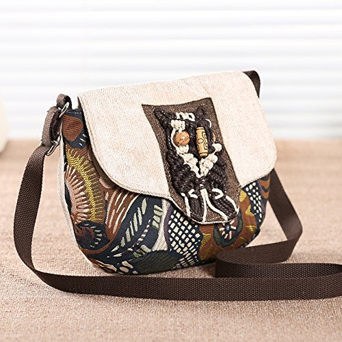 flower Mini Messenger Bag Canvas Small Girl Mini National Women'S Crossbody vintage Messenger Bag Small Bag Bag Wind BISSER Bag Khaki Crossbody Art wqq1xApaf