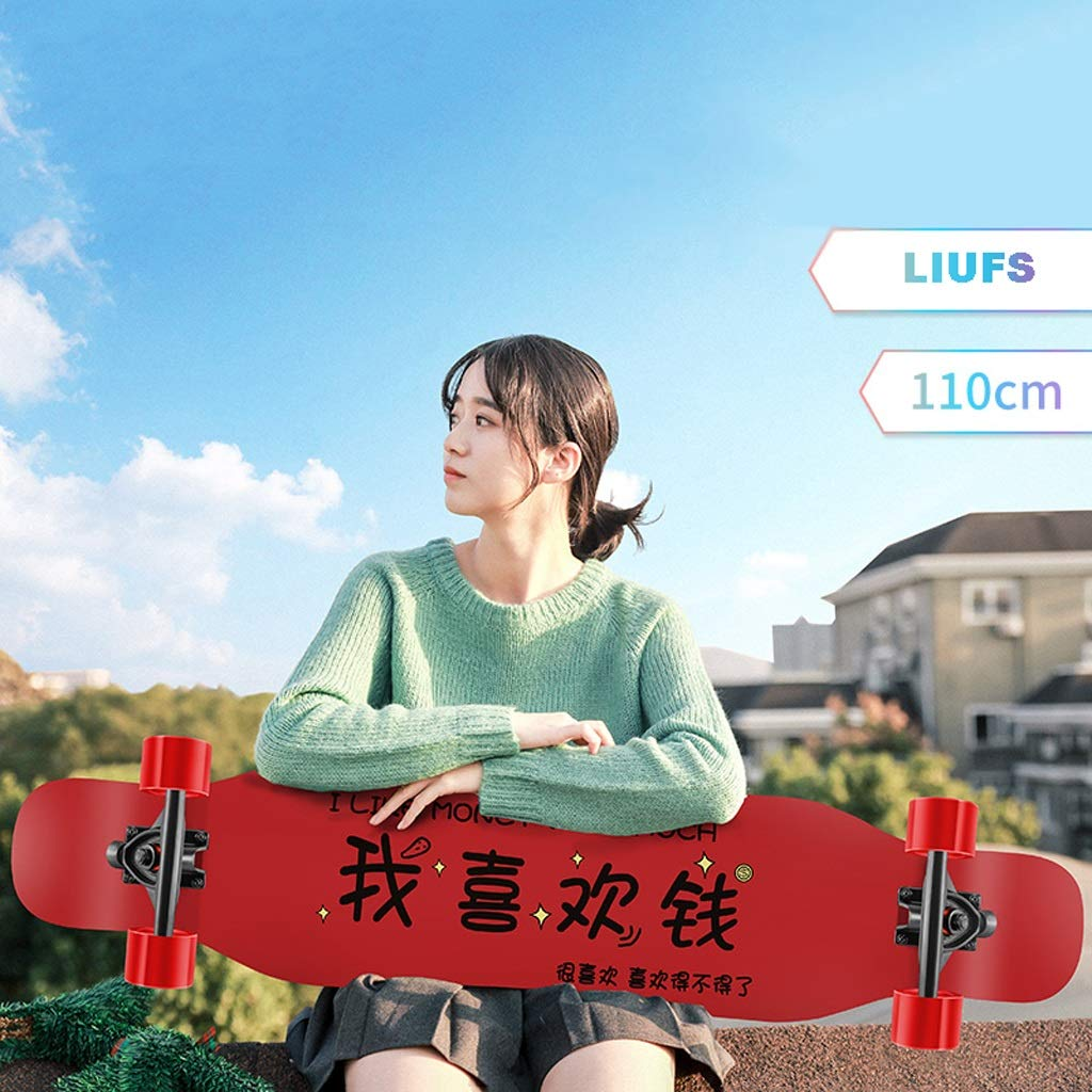 HXGL-Skateboards Longboard Skateboard Girl Adult Scooter Dance Board Brush Street Boy Beginner Professional Skateboard - I Like Money (Color : Black)