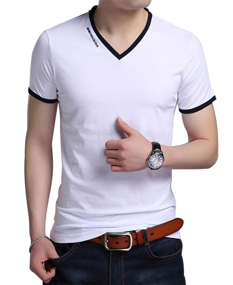 JNC Men's Summer V-Neck Casual Slim Fit Short Sleeve T-Shirts Cotton Shirts (Medium, White)