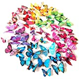 72PCS 3D Butterfly Wall Decor, Stickers for Home, Kitchen, Nursery and Room Decorations, 6 Colors and 4 Sizes, Removable and Reusable (Single Wing)
