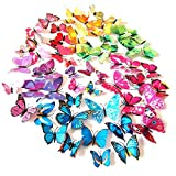 Kitchen Decor Stickers 72PCS 3D Butterfly Wall Decor, Stickers for Home, Kitchen, Nursery and Room Decorations, 6 Colors and 4 Sizes, Removable and Reusable (Single Wing)