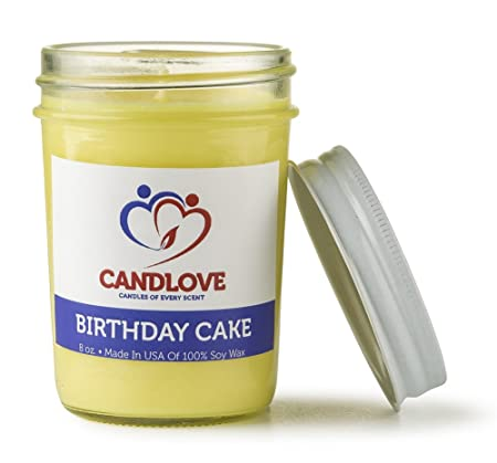Candlove Candles Of Every Scent Birthday Cake Scented Jar Candle 100 Soy 8 Oz Amazoncouk Kitchen Home