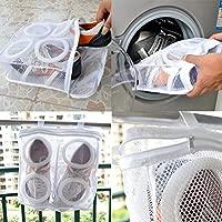 PIXNOR Zapatillas zapatos tenis lavandería lavado bolsa (blanco) de red