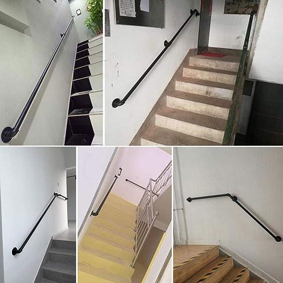 Pasamanos Baranda de Escalera de Tubo de Hierro Forjado de Estilo Industrial 30-600cm Baranda de Escalera Antideslizante para Interiores y Exteriores de,Tama/ño Personalizable OUG