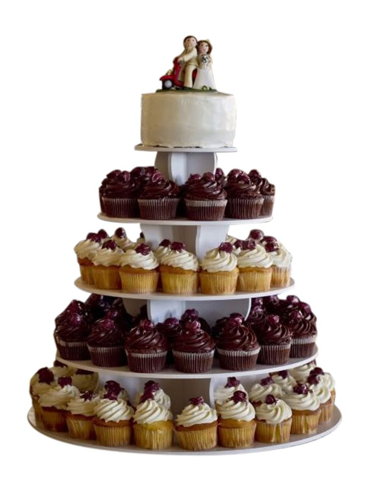 The Smart Baker 5 Tier Round Cupcake Stand PRO- Holds 90+ Cupcakes As Seen on Shark Tank Professional Cupcake Tower by The Smart Baker (Image #7)