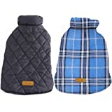 Kuoser Cozy Waterproof Windproof Reversible British Style Plaid Dog Vest Winter Coat Warm Dog Apparel for Cold Weather Dog Ja