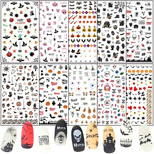 Halloween Nail Stickers Day of the Dead Nail Art Decals 10 Sheets Skull Pumpkin Spider Bat Ghost Witch Blood Nail Art Stickers Self Adhesive Fingernails Decorations DIY Nail Art Tips Accessories