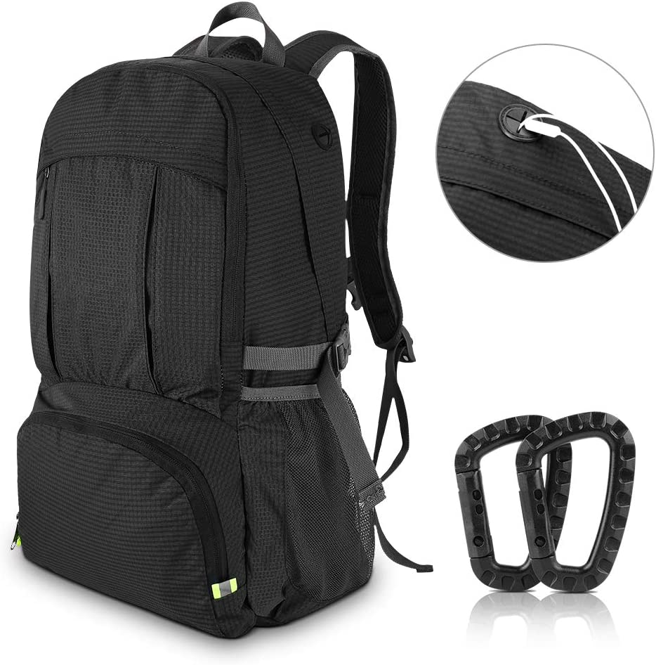 AIRSSON Waterproof 40L Foldable Hiking Lightweight Backpack for Travel Nylon Ultralight Durable Outdoor Climbing Daypack for Men Women- Medium Compact School Laptop Rucksack