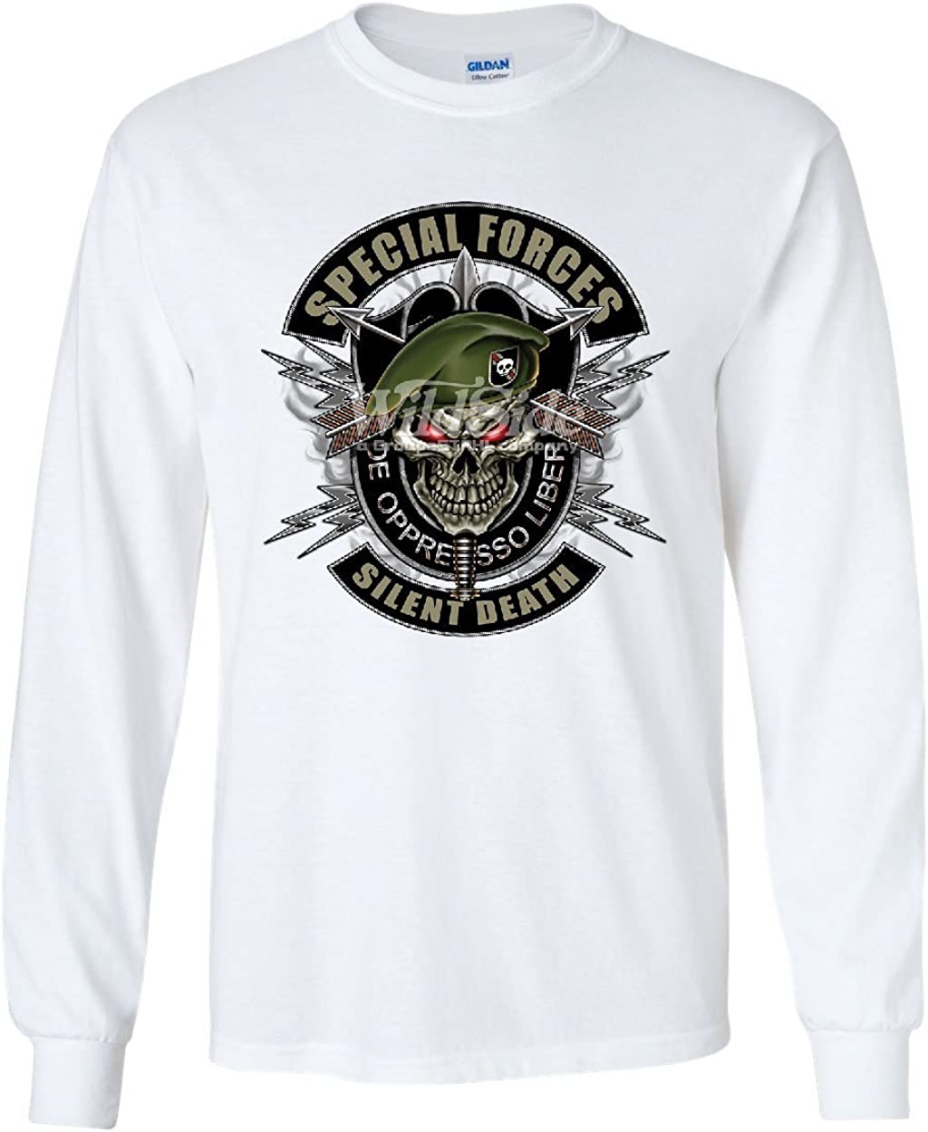 Tee Hunt Special Forces Womens Sweatshirt Army Silent Death Green Berets Skull