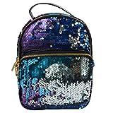 target backpack purse - Monique Students Women Adjustable Sequins PU Backpack Shoulders Bag for School Shopping Travel Blue
