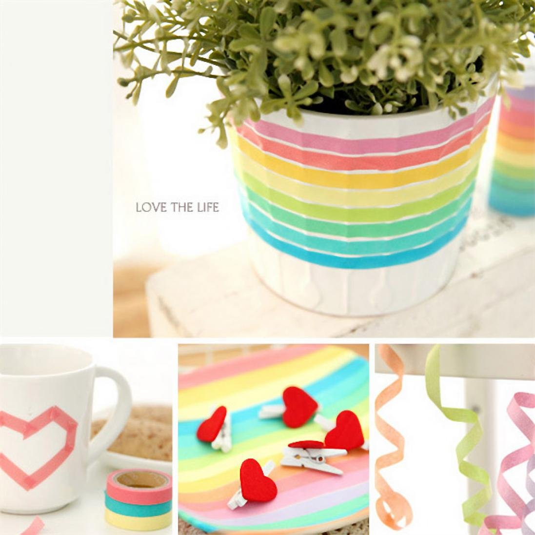 Voberry 10x Decorative Washi Rainbow Sticky Paper Masking Adhesive Tape Scrapbooking DIY by Voberry (Image #3)