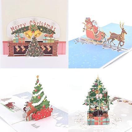 junke 4 pcs 3d christmas cards santa clausdeer fireplacechristmas tree handmade - Deer Christmas Cards