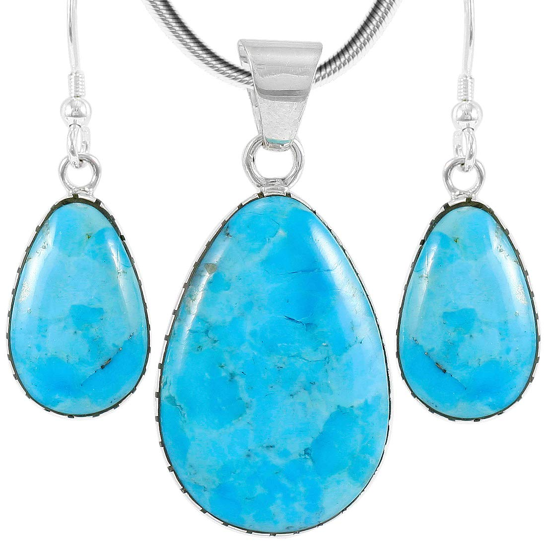 Sterling Silver with Genuine Turquoise Necklace & Earrings Set (SELECT COLOR) (Turquoise) by Turquoise Network (Image #1)