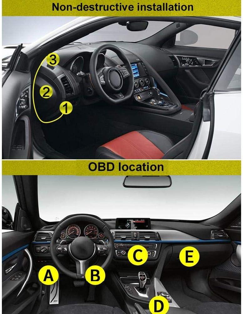 Auto Heads Up Display Funktionsfunktionen A203 Auto Digital OBD 2 Computeranzeige Drehzahlmesser Verbrauchsverbrauchsmesser Temperaturanzeige /Überdrehzahl Warnung Scan Motor Fehlercodes F/ür Autos