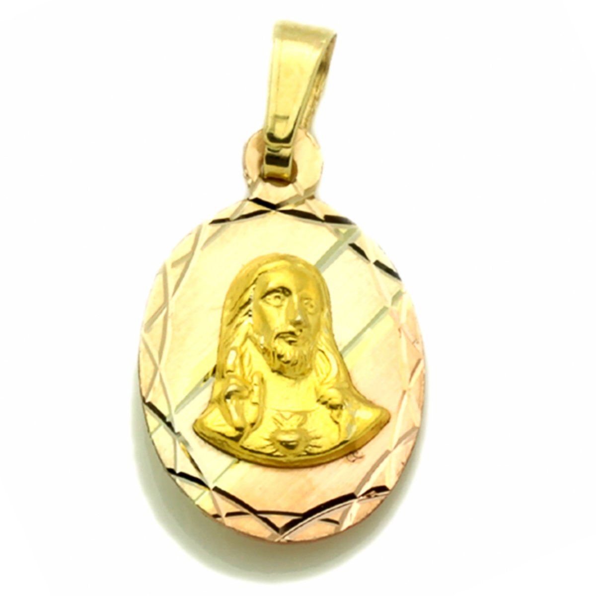 14K Tri-Color Gold Halo Reversible Our Lady Of Guadalupe /& Jesus Pendants Charms
