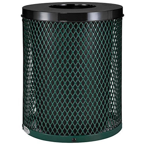 Flat Plastic Receptacle Lid (Thermoplastic Coated Mesh Receptacle w/Flat Lid, 32 Gallon, Green)
