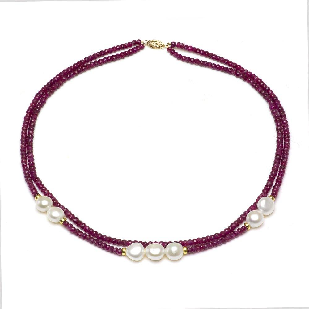 14k Yellow Gold 8-8.5mm White Freshwater Cultured Pearl 3mm Simulated Red Ruby 2-rows Necklace, 18''