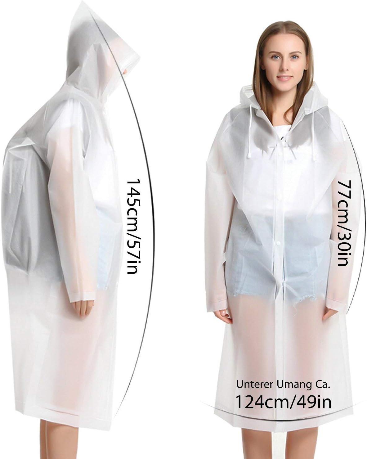 190 cm Eva Pack of 2 LEO Transparent Rain Poncho Reusable Raincoat Waterproof Breathable Rain Cape Portable Rain Coat Rain Jacket Hiking Camping Fishing 160