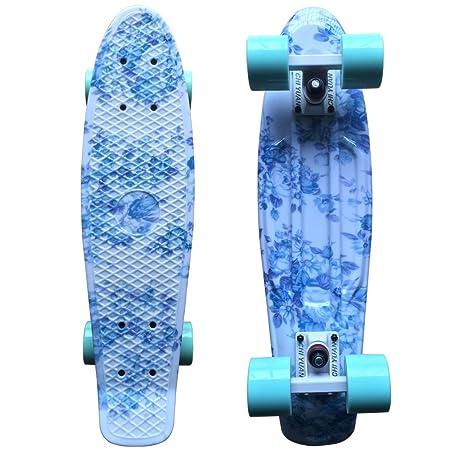 CHI YUAN 22 Retro Cruiser Board Mini Plastic Skateboards Blue Floral Graphic