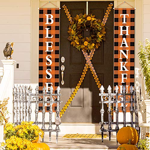 BigOtters Porch Sign Autumn Door Sign, 73 Inches Welcome Fall Harvest Decorative Thankful and Blessed for Fall Party Garden Yard Thanksgiving Decoration