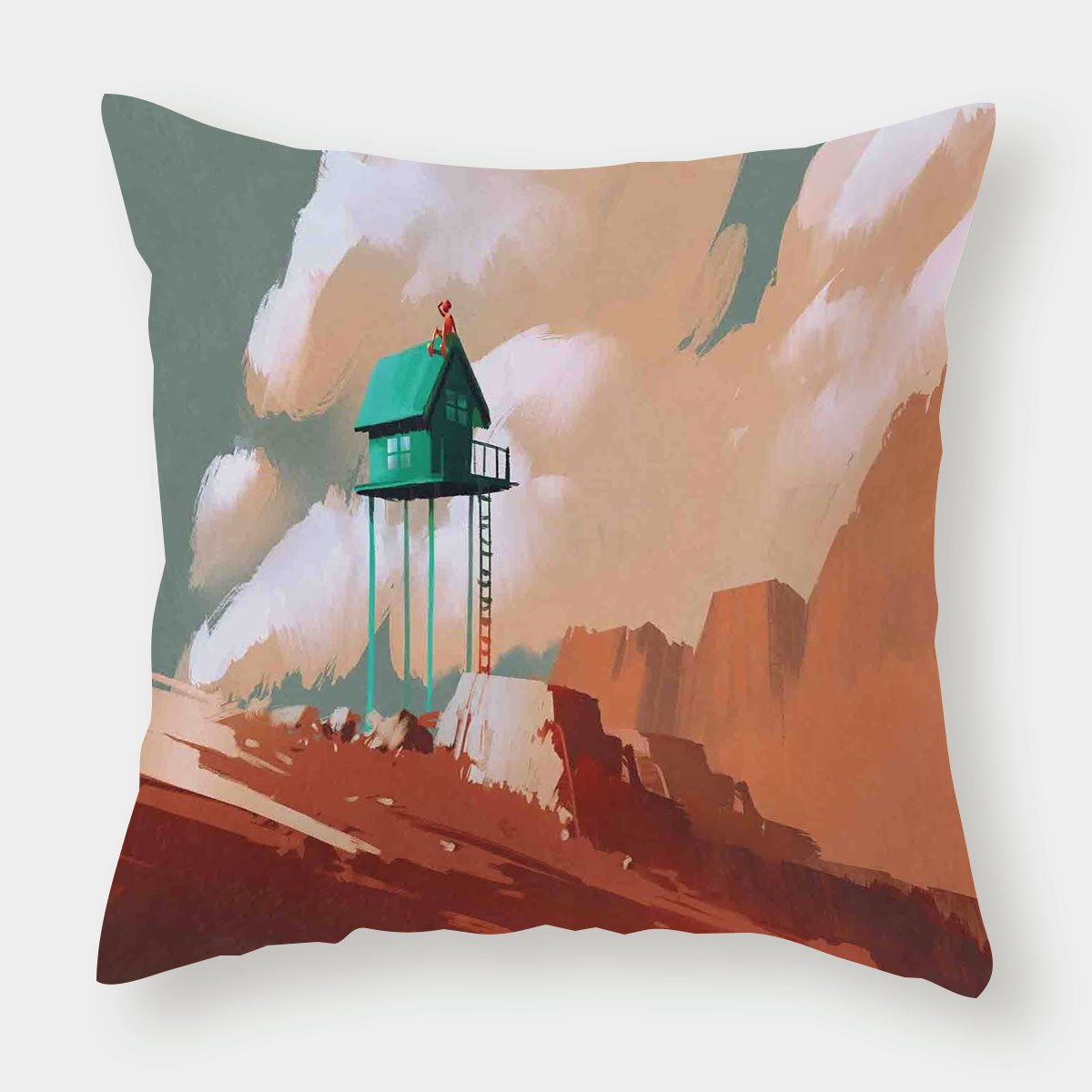 iPrint Satin Throw Pillow Cushion Cover,Fantasy Art House Decor,Little Wood House on Stone Hill with Boy on the Cloudy Roof Artprint,Tan Green,Decorative Square Accent Pillow Case