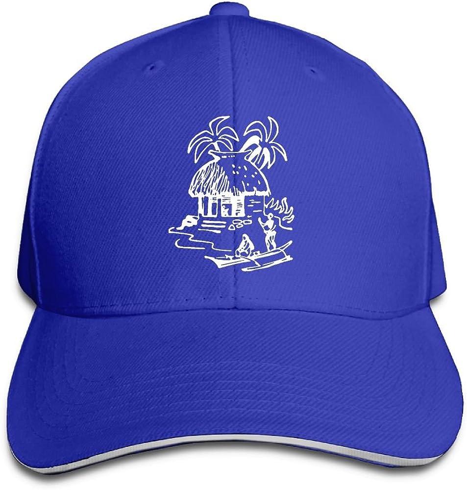 JustQbob1 Tiki Hut Outdoor Snapback Sandwich Cap Adjustable Baseball Hat Plain Cap