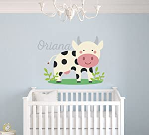 e-Graphic Design Inc Personalized Name Little Cow Vinyl Wall Decal Custom Name Girls, Boys, Children, Baby Decor Nursery Kids Room, Bedroom (M61N) (Wide 24