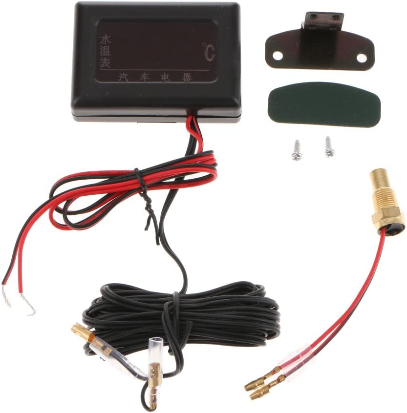 17mm Universal Water Temperature Sensor Gauge for 12-24 Volt Car Vehicles LCD Digital Water Temp Gauge