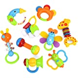 Baby Toys Rattles Teether and Shakers 9 PCS, Baby Newborn Gift Set for Hand Development Early Educational Toys for 3, 6…