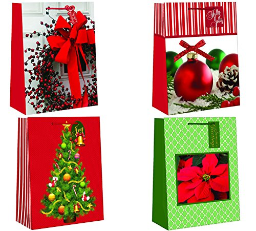 "Christmas Holiday Traditional Festive Wreath, Xmas Tree, Ornaments, & Poinsettia Designed Bags, Multicolor, Small, Assorted 4 Pack, 7"" x 9"" x 3 ½"