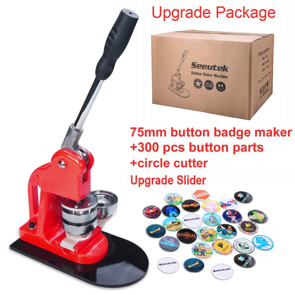 Seeutek 3 inch 75mm Button Badge Maker Machine with 300 Pcs Button Parts  and 3 inch 75mm Circle Cutter