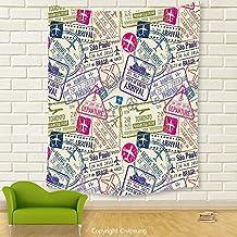 Vipsung House Decor Tapestry_Traveller Decor Passport Visa Stamps Illustration Toronto Hong Kong Berlin Print Egg Shell And Pink_Wall Hanging For Bedroom Living Room Dorm