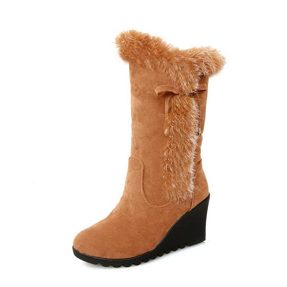 WeiPoot Womens High-Heels Solid Round Closed Toe Frosted Pull-On Boots