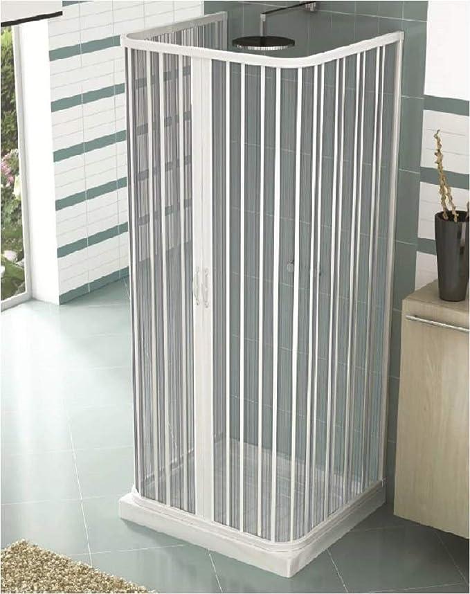 Mampara ducha tres lados extensible en PVC apertura central dos hojas - 70 x 90 x 70 cm, H 185 cm, Blanco: Amazon.es: Bricolaje y herramientas