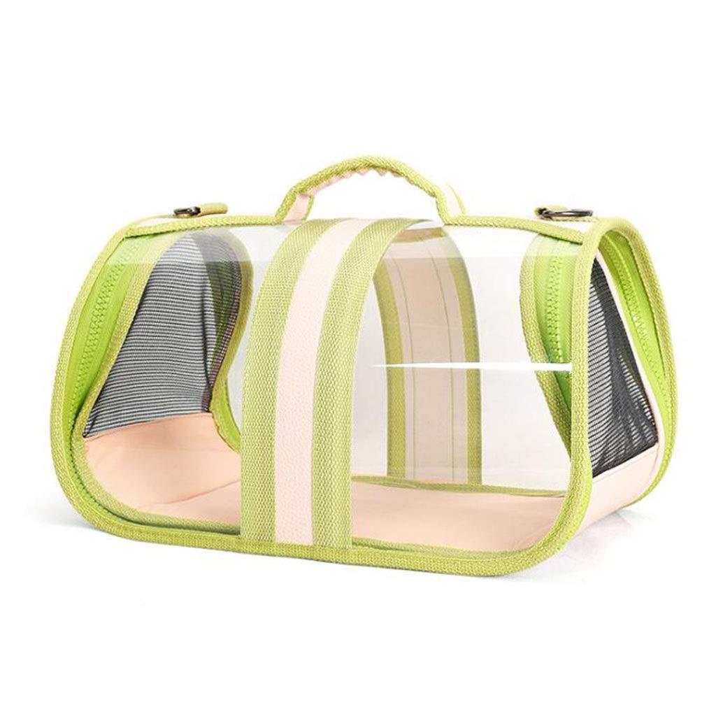Green M Green M Cat and Dog Outing Shoulder Bag Folding Convenient Chest Bag Panoramic Transparent Cat Bag Pet Bag (color   Green, Size   M)