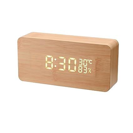 Bogao imitar de madera despertador digital reloj Mini Control alarma reloj con tiempo, temperatura,