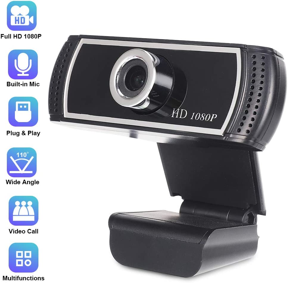 Webcam with Microphone for Desktop, HD Webcam 1080p with Wide Angle for Computer, PC and Laptop, Plug and Play USB Web Camera with Facial-Enhancement for Streaming, Video Conferencing and Recording