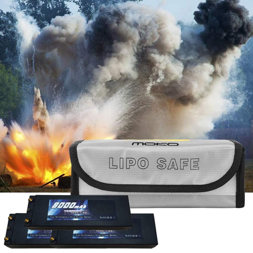 Argento 2 Pezzi Nuluxi Borsa Batteria Ignifuga Antideflagrante Custodia Protettiva Lipo Batteria Borsa Batteria Lipo Sicuro Sacchetto Usato per Batteria Carica,Immagazzinaggio,Transito e Protezione