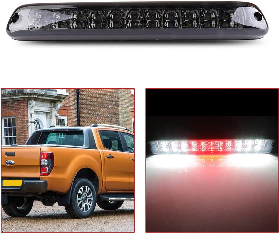 Rear Roof Center LED Third 3rd Brake Cargo Light Assembly High Mount Brake Tail Light Replacement for 97-01 Jeep Cherokee Black+Smoke Lens