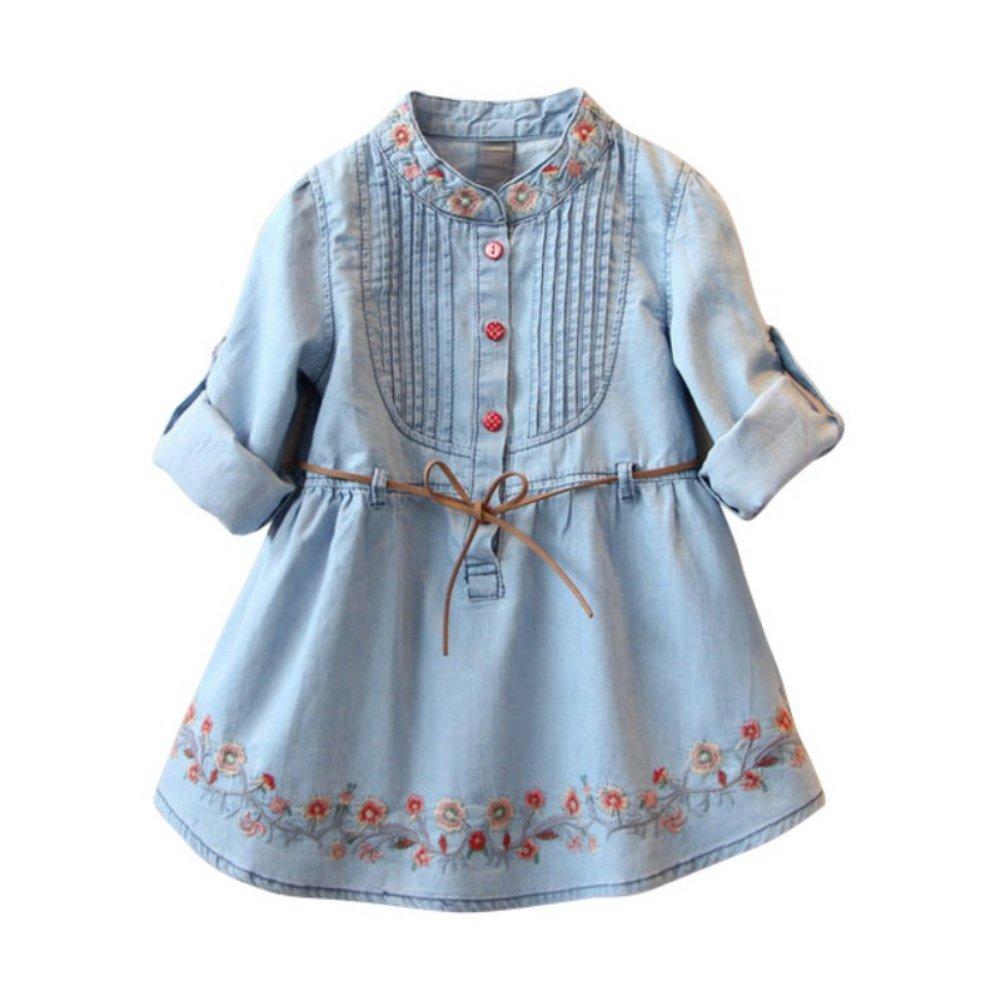Miyanuby Vestito per bambini Neonate Abiti a maniche lunghe Denim ricamato A-line Vestito da festa Autunno Inverno Abbigliamento per il tempo libero 2-7 anni