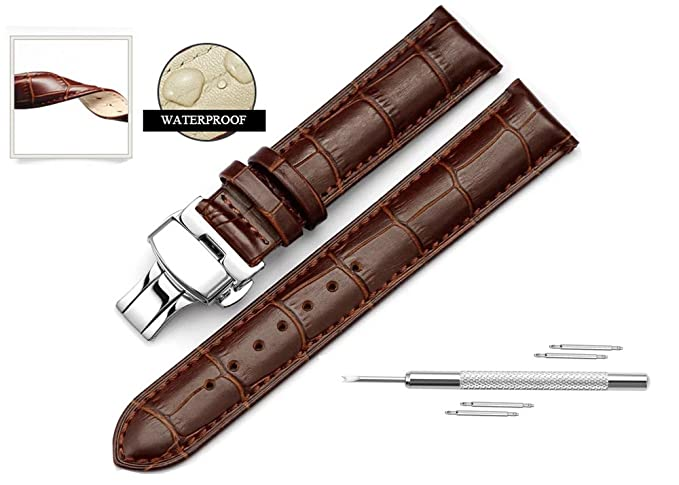 667e2a6fd97 Watch Band Replacment For Men 22mm Calf Leather Watch Strap Deployant Clasp  Butterfly Buckle-Brown