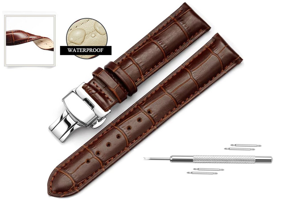 Watch Band Replacment For Men 18mm Calf Leather Watch Strap Deployant Clasp Butterfly Buckle-Brown