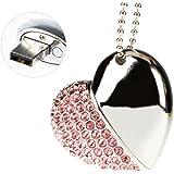 MAXINDA(TM) Clé USB 2.0 16Go/32Go/64Go Métal Cristal Coeur Stockage de Données USB Flash Drive (16 GO, Rose)