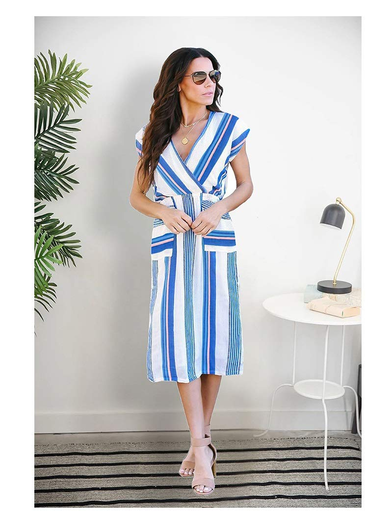 CARRY Dress, European and American Comfortable Soft Ladies Cocktail Dress VNeck Sexy Slit Long Skirt with Printed Dress (Size   XL)