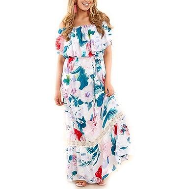 Soupliebe_vestido de Fiesta Mujer Verano Falda Larga con Hombros ...