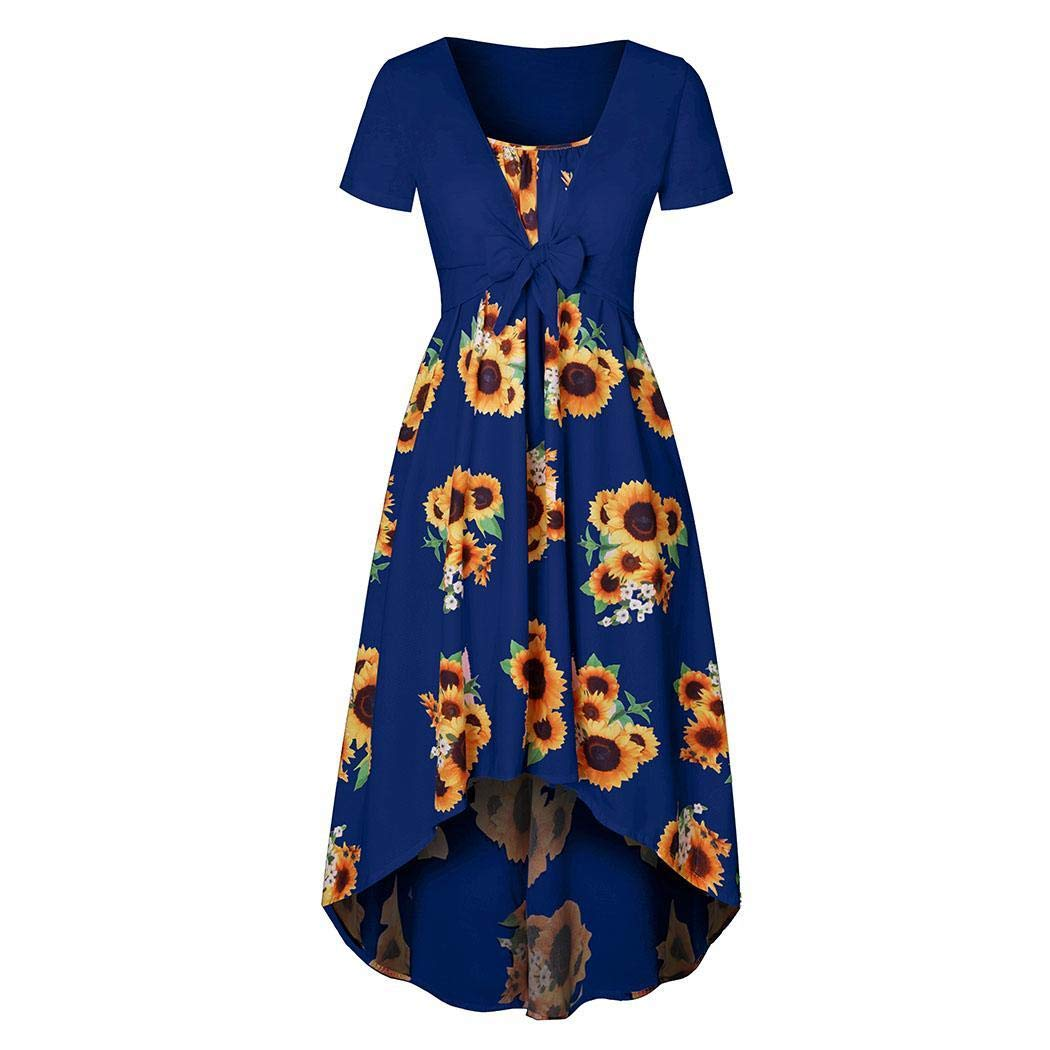 lazinem Women Casual V-Neck Short Sleeve Print Asymmetrical Hem Two-Piece Dress Dresses Blue
