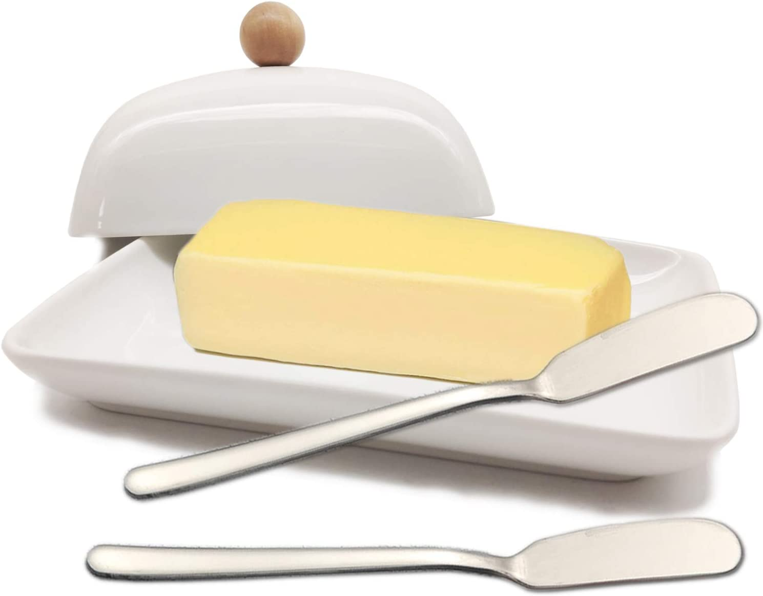 Butter Dish Set 3pcs Ceramic Butter Dish With 2 Stainless Steel Butter Knife Great For Store Butter On Dinning Table Kitchen Cooking White Butter Dishes