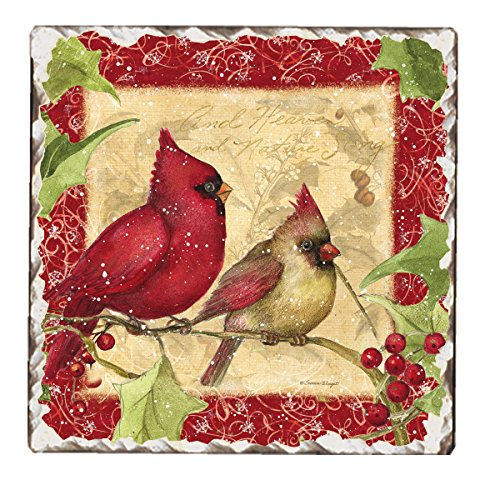 (CounterArt Cardinals and Holly Tumbled Tile Trivet,)